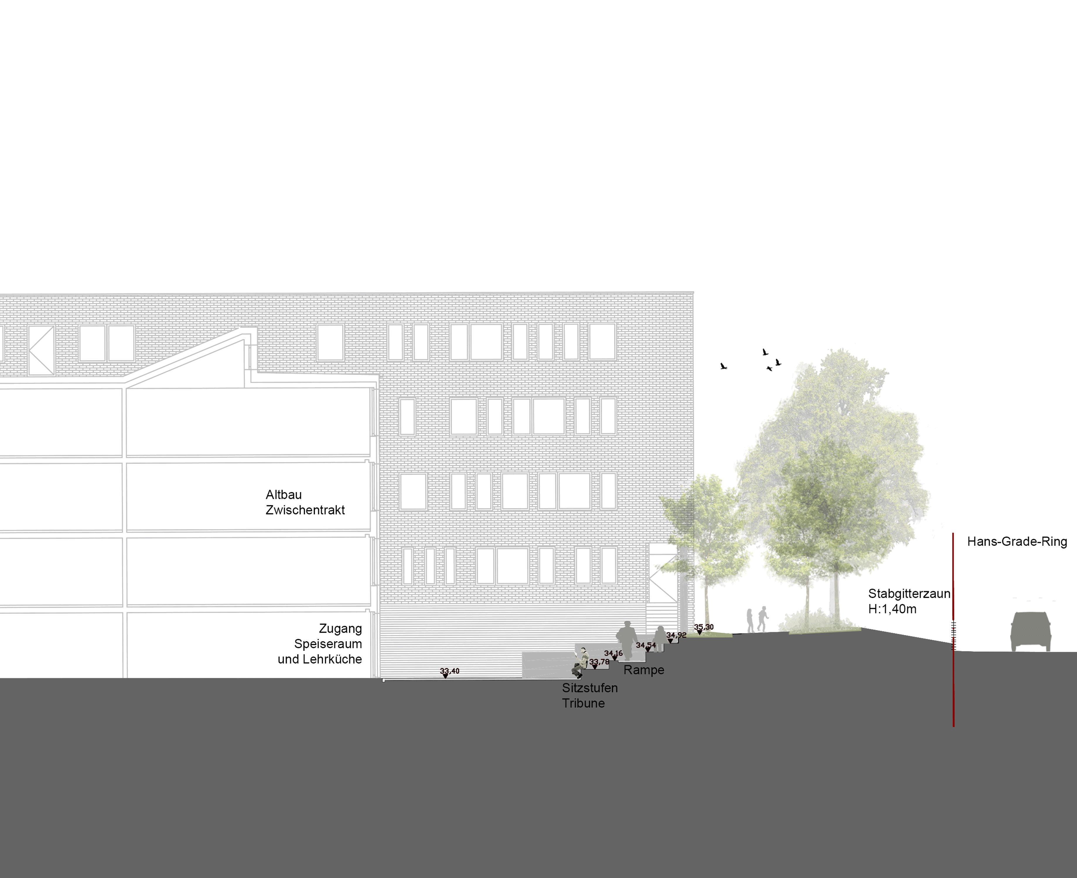 Neueplanung Außenanlagen Montessori Schule in Potsdam, Rundling