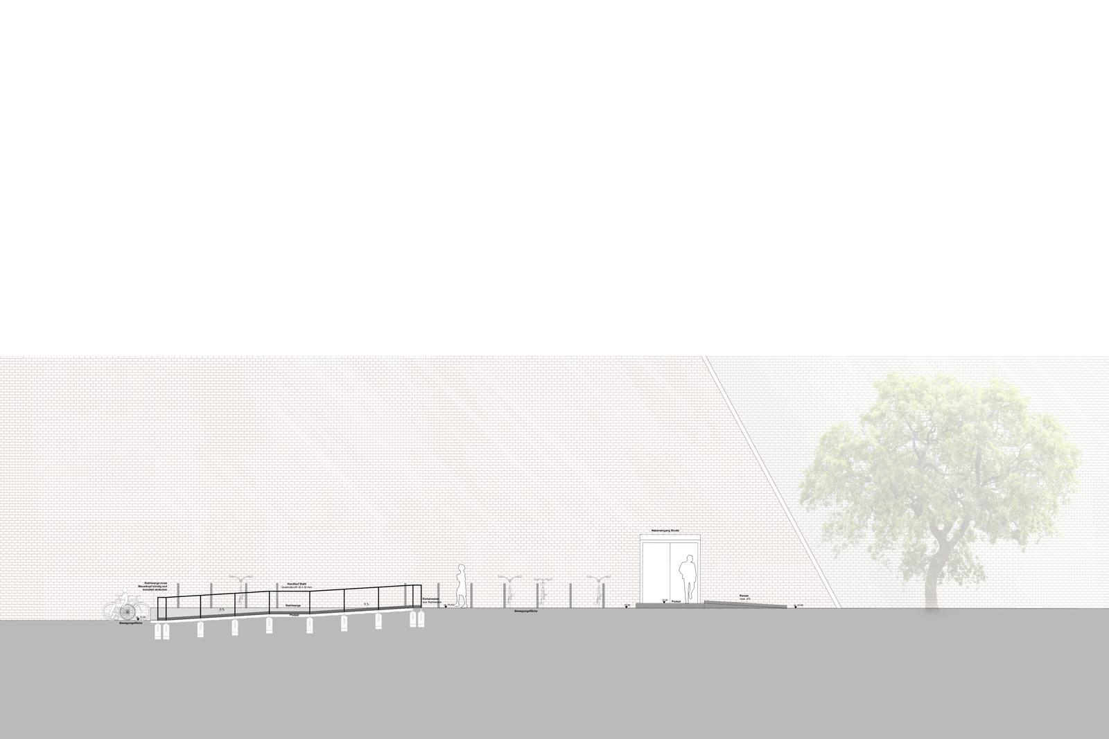vorplatz-akademie-der-kuenste-berlin-hanseatenweg-eingang-aussenanlagen-armbruster-gruenanlage-vorplatz-Rampe-Schnitt