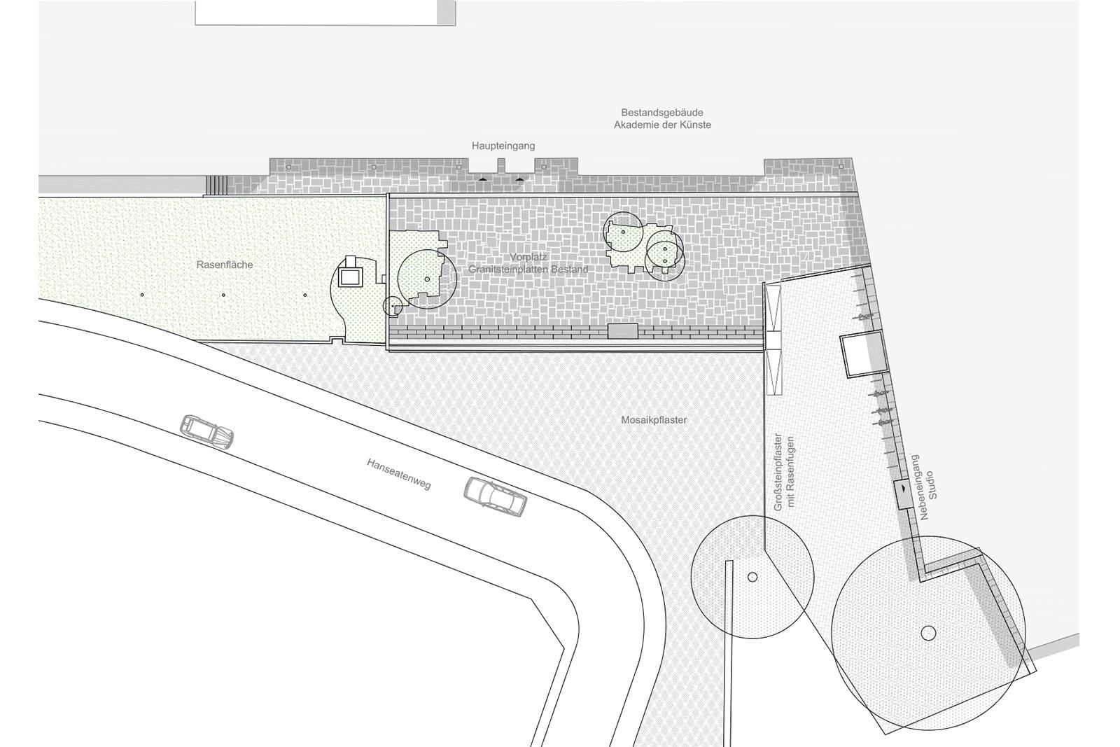 vorplatz-akademie-der -kuenste-berlin-hanseatenweg-eingang-aussenanlagen-armbruster-gruenanlage-vorplatz-denkmal-landschaftsarchitektur-Lageplan